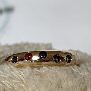 9ct Gold Flush Set Rainbow Ring