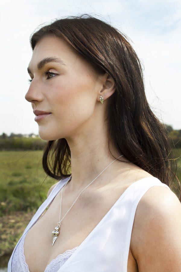 Model Wearing Handcut Fine Silver Pendant