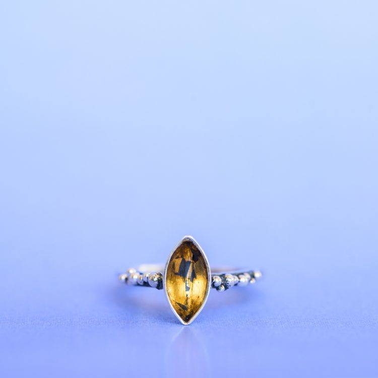 Marquise Shape Sterling Silver Gold-Lined Ring